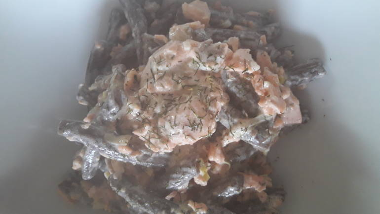 Pasta al grano saraceno con trota salmonata al profumo di aneto e zenzero!